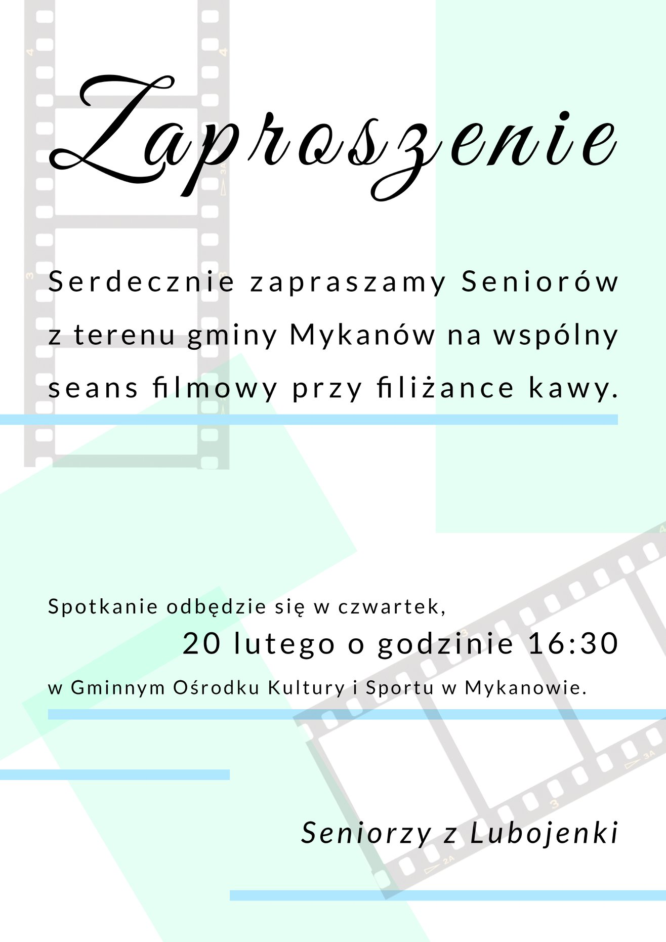Seniorzy z Lubojenki serdecznie zapraszają na seans filmowy!